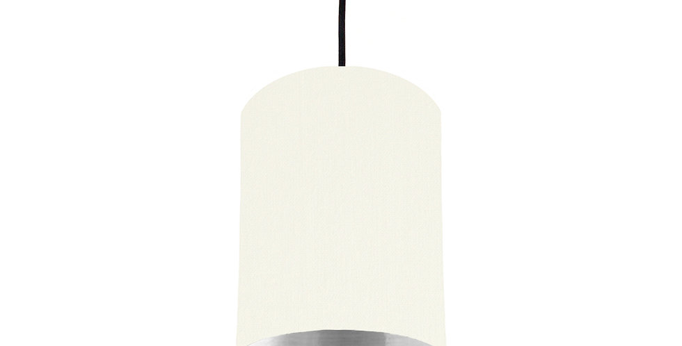 White & Silver Mirrored Lampshade - 15cm Wide