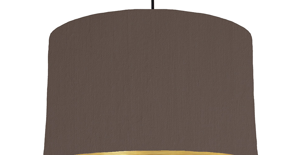 Brown & Brushed Gold Lampshade - 40cm Wide