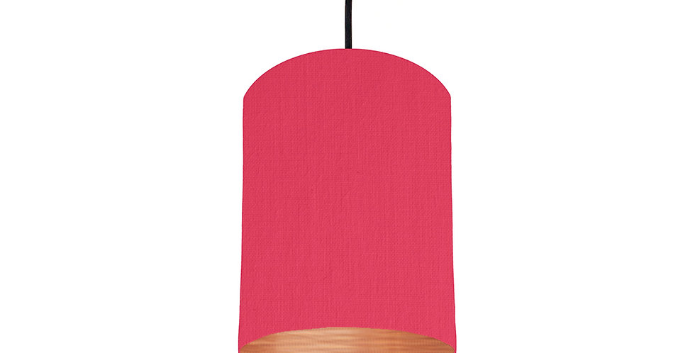Cerise & Brushed Copper Lampshade - 15cm Wide
