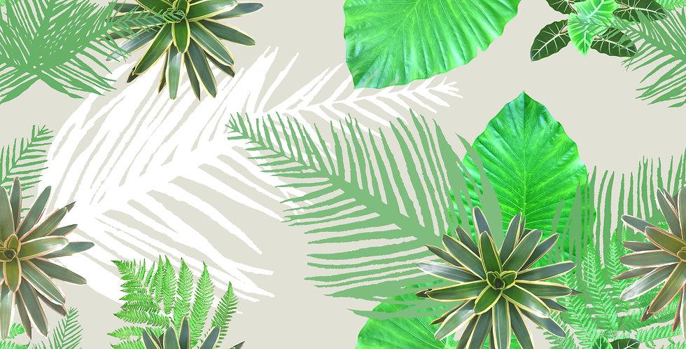 Digital Tropical Plant Fabric - Grey