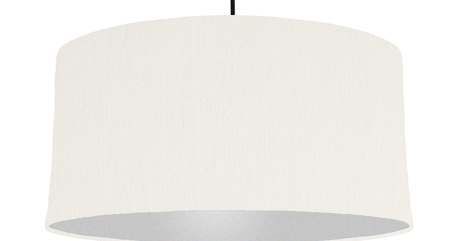 White & Silver Lampshade - 60cm Wide