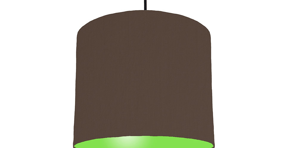 Brown & Lime Green Lampshade - 25cm Wide