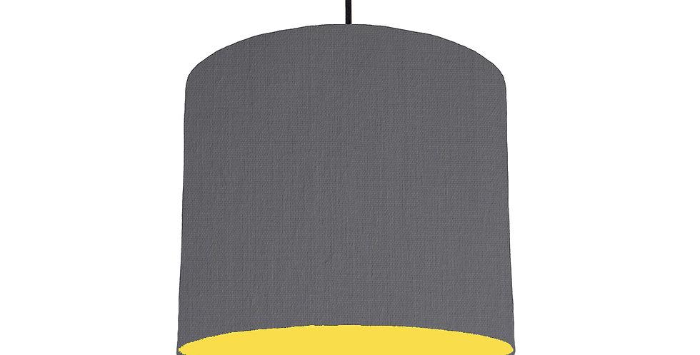 Dark Grey & Butter Yellow Lampshade - 25cm Wide