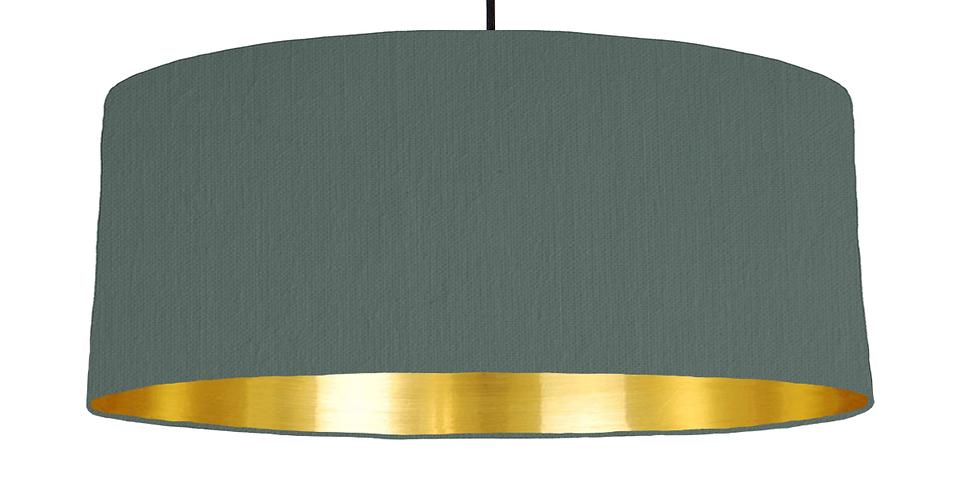 Bottle Green & Gold Mirrored Lampshade - 70cm Wide