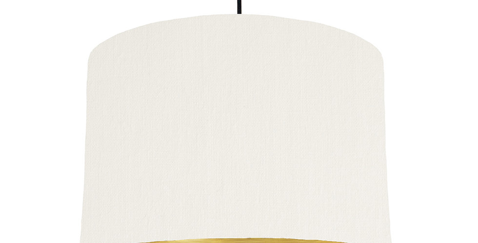 White & Brushed Gold Lampshade - 30cm Wide