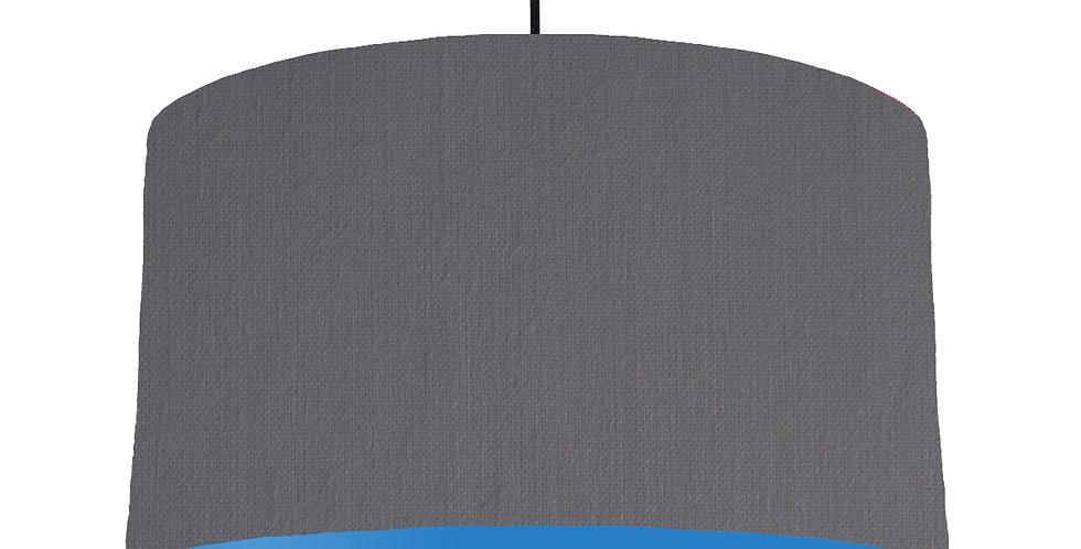 Dark Grey & Bright Blue Lampshade - 50cm Wide