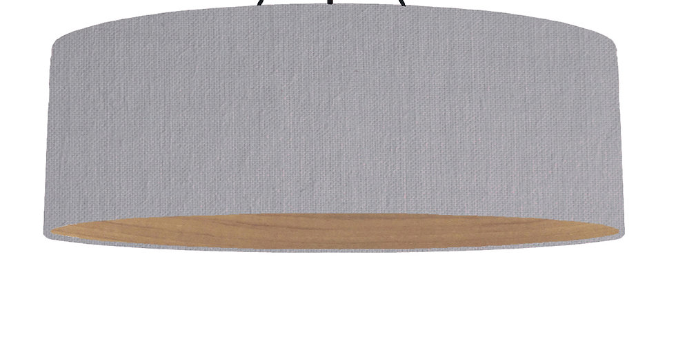 Light Grey & Wooden Lined Lampshade - 100cm Wide