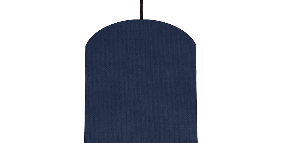 Navy & Wood Lined Lampshade - 20cm Wide