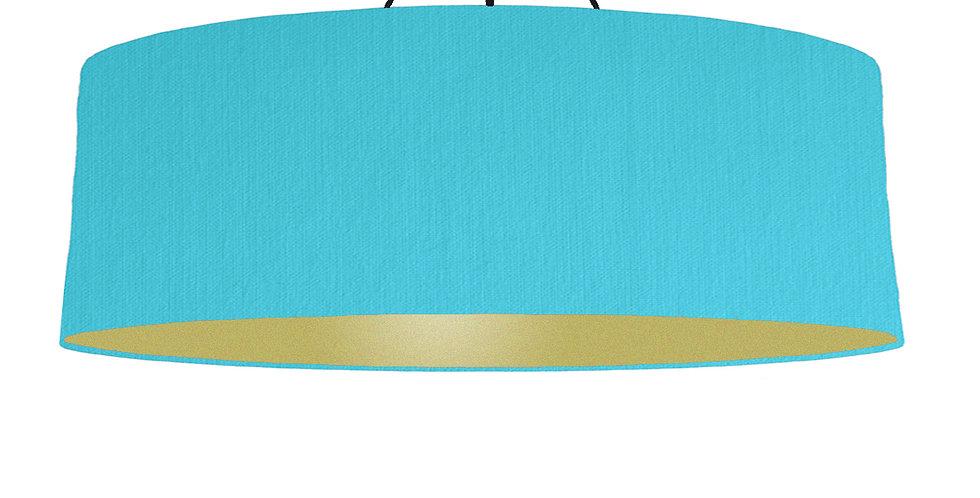 Turquoise & Gold Matt Lampshade - 100cm Wide