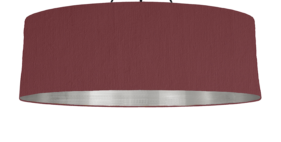 Wine Red & Brushed Silver Lampshade - 100cm Wide