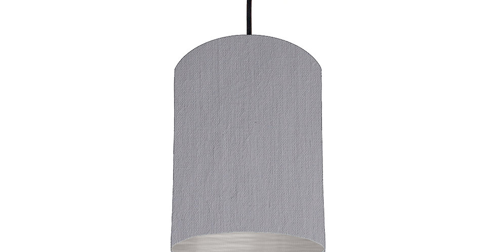 Light Grey & Brushed Silver Lampshade - 15cm Wide