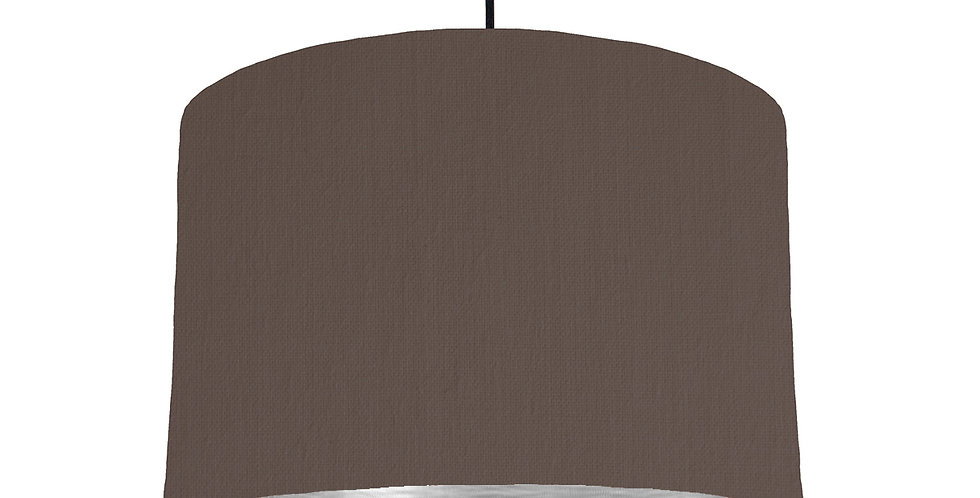 Brown & Brushed Silver Lampshade - 30cm Wide
