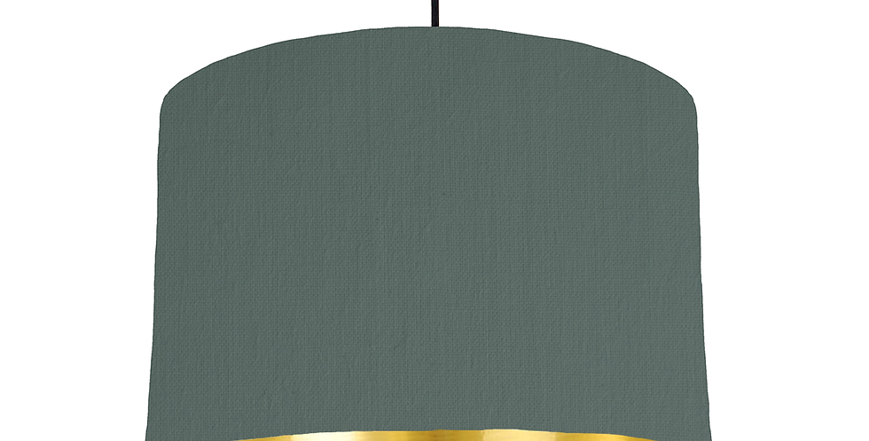 Bottle Green & Gold Mirrored Lampshade - 30cm Wide