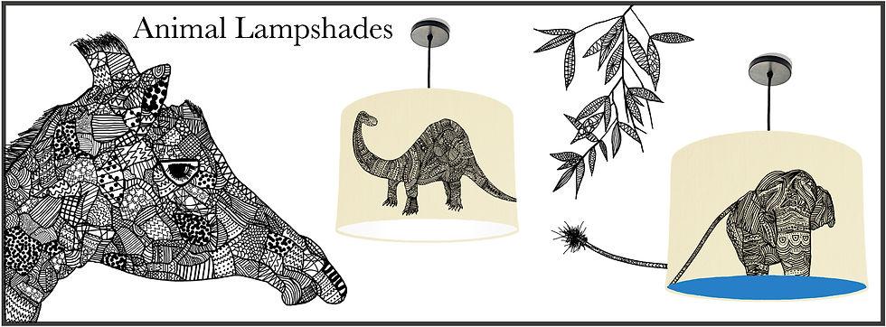 Animal screenprinted lampshades