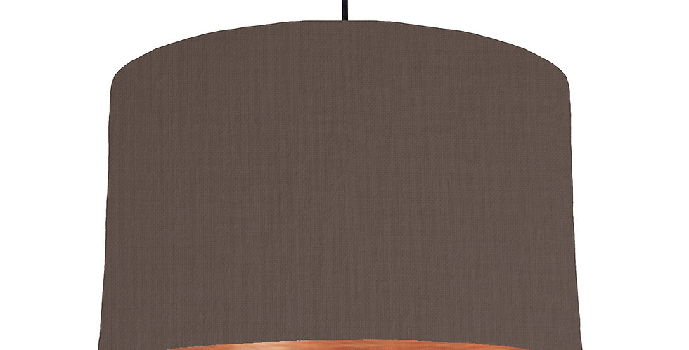 Brown & Brushed Copper Lampshade - 40cm Wide