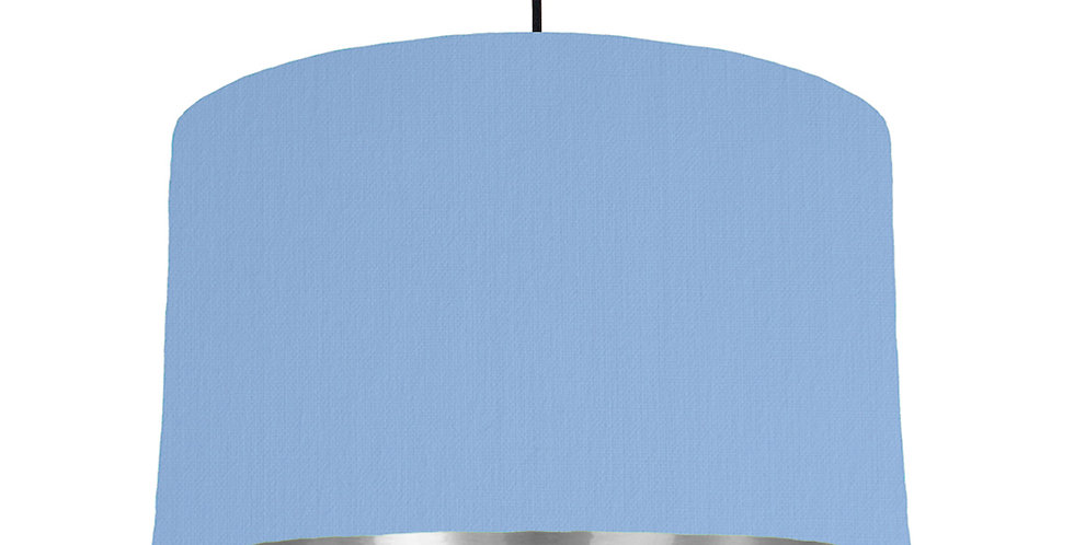 Sky Blue & Silver Mirrored Lampshade - 40cm Wide