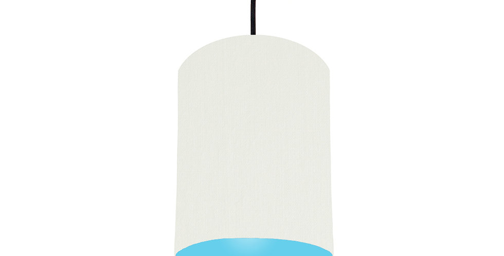 White & Light Blue Lampshade - 15cm Wide