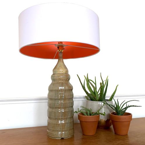 Tall Brown Rippled Bespoke Ceramic Table Lamp Base