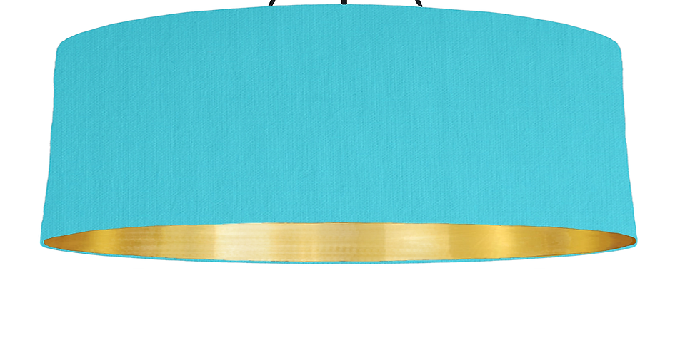 Turquoise & Brushed Gold Lampshade - 100cm Wide