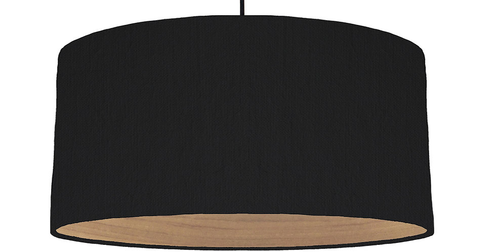 Black & Wooden Lined Lampshade - 60cm Wide