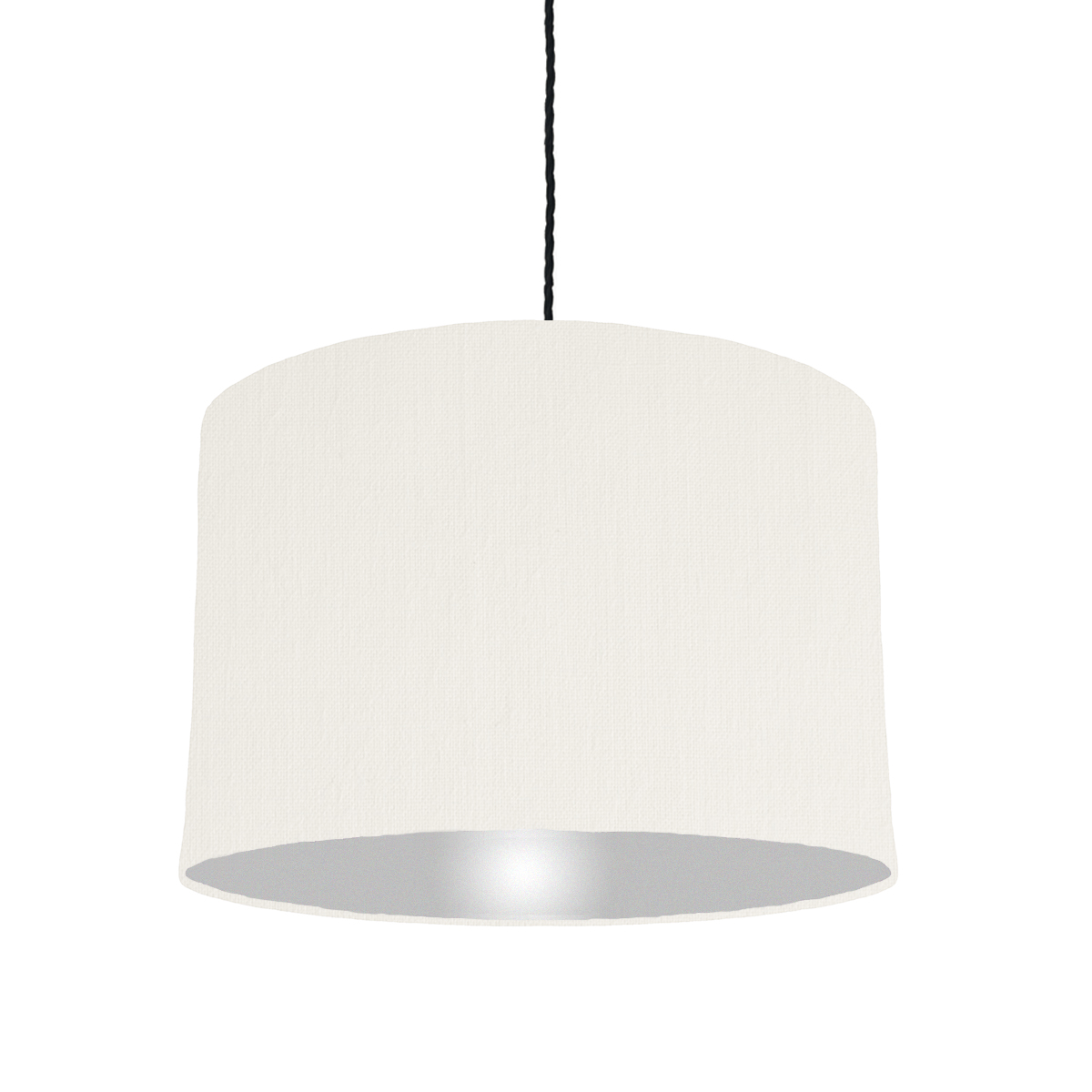 White lampshade with silver lining