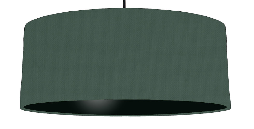 Bottle Green & Black Lampshade - 70cm Wide