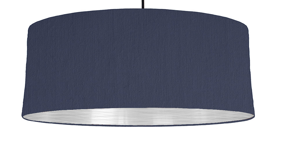 Navy Blue & Brushed Silver Lampshade - 70cm Wide