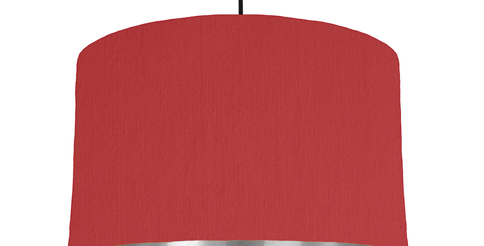 Red & Silver Mirrored Lampshade - 40cm Wide