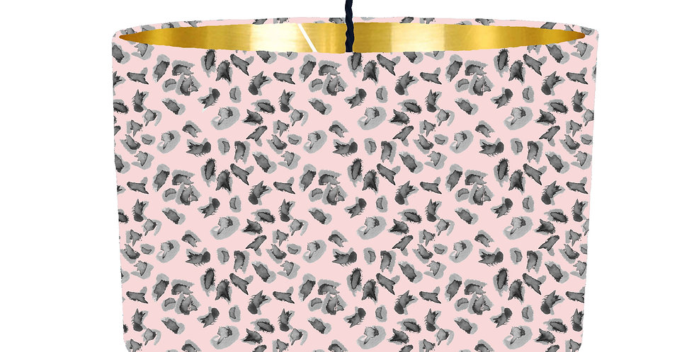 Soft Pink Leopard Print Lampshade - Metallic Lining