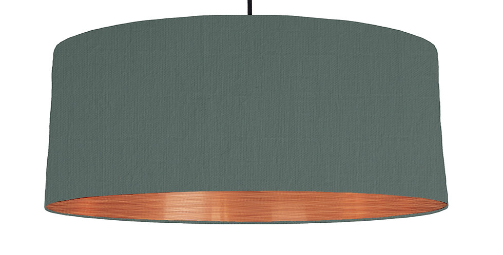 Bottle Green & Brushed Copper Lampshade - 70cm Wide