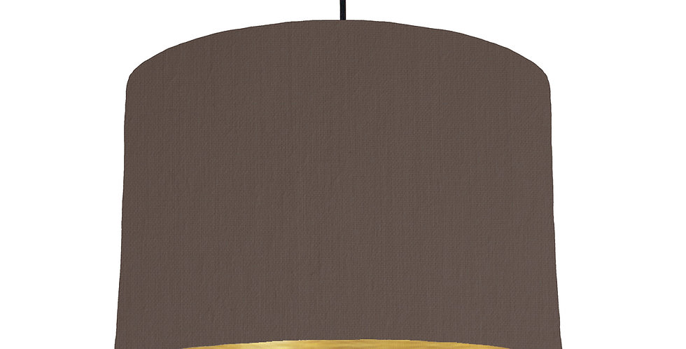 Brown & Brushed Gold Lampshade - 30cm Wide