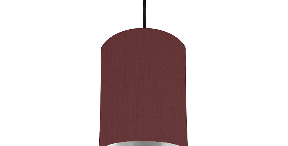 Wine Red & Silver Mirrored Lampshade - 15cm Wide
