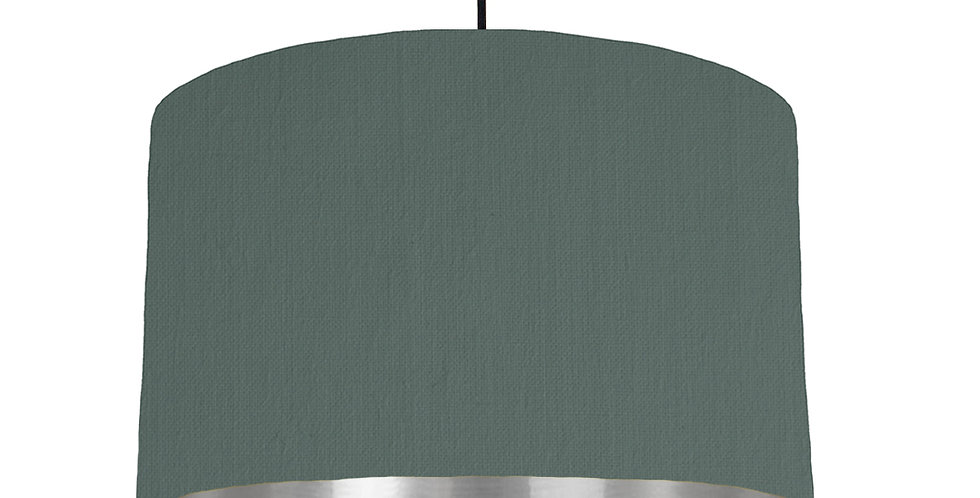 Bottle Green & Silver Mirrored Lampshade - 40cm Wide