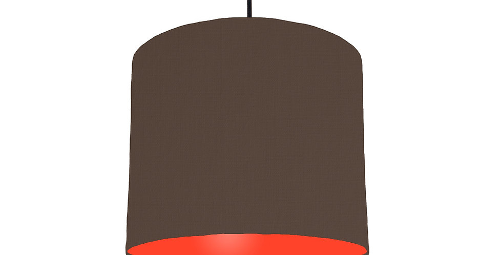 Brown & Poppy Red Lampshade - 25cm Wide