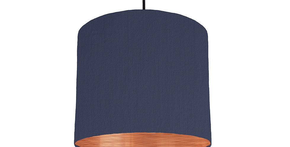 Navy & Brushed Copper Lampshade - 25cm Wide