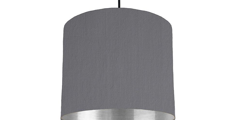 Dark Grey & Silver Mirrored Lampshade - 25cm Wide