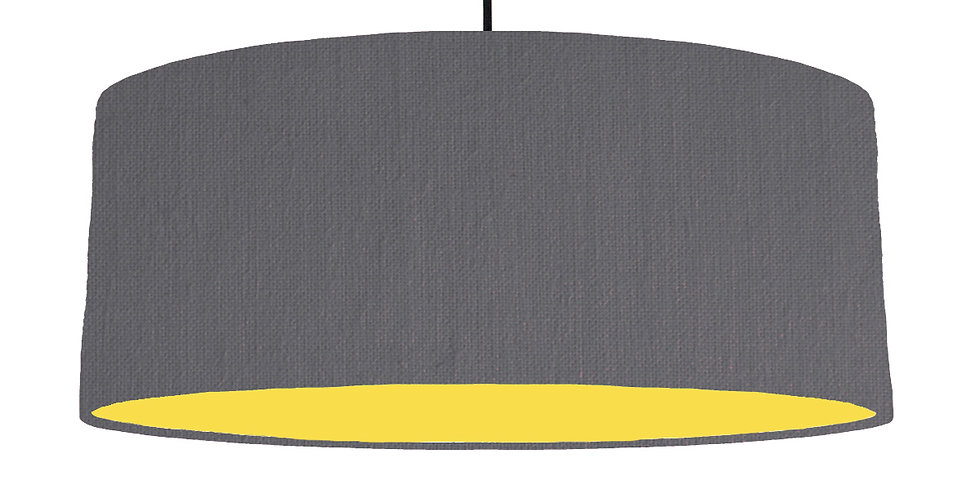 Dark Grey & Butter Yellow Lampshade - 70cm Wide