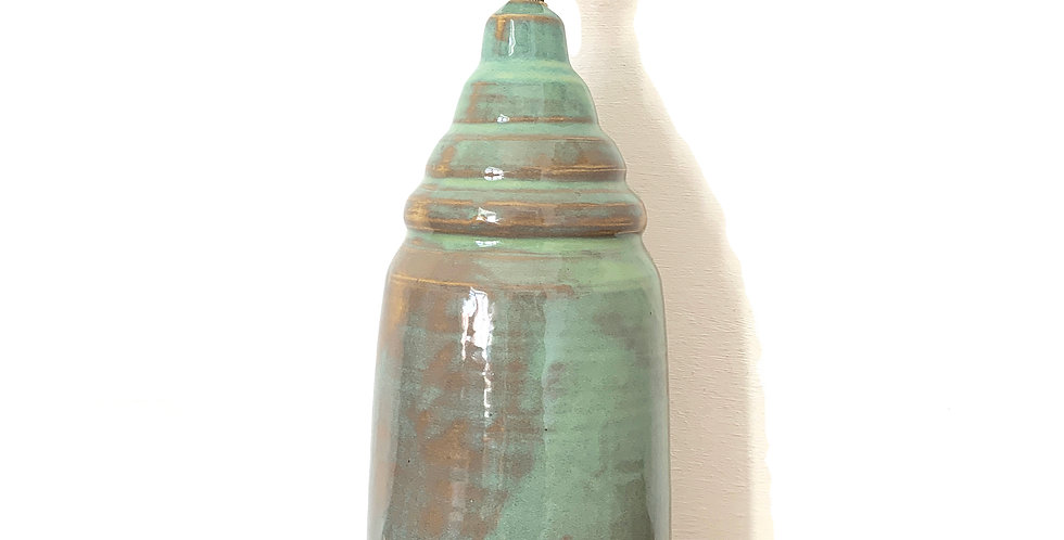 Green Rippled Conical Bespoke Ceramic Table Lamp Base - 1 Available