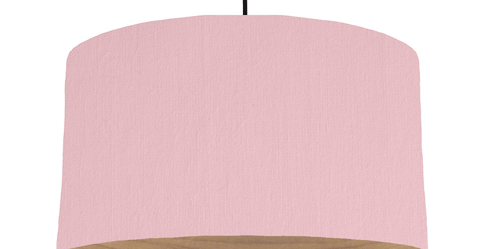 Pink & Wooden Lined Lampshade - 50cm Wide
