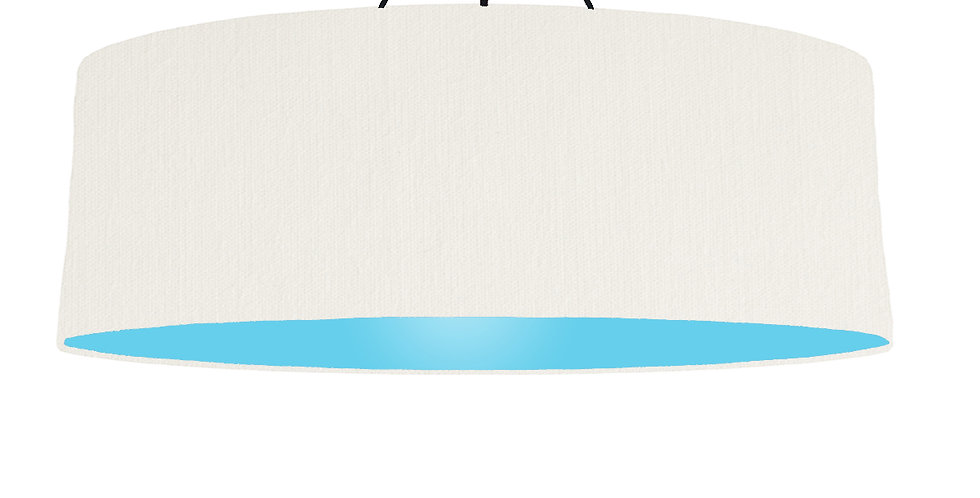 White & Light Blue Lampshade - 100cm Wide