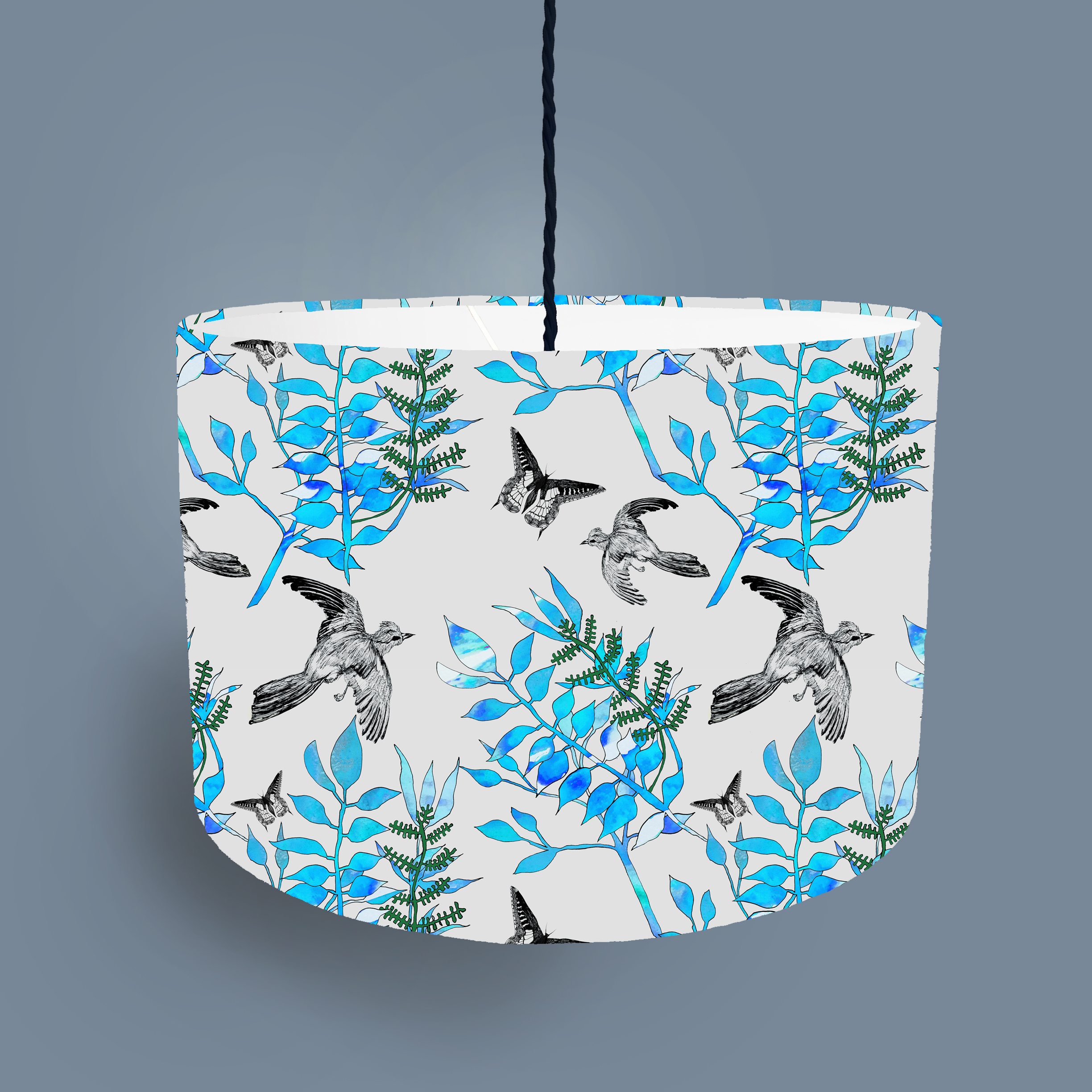 Botanical bird lampshade