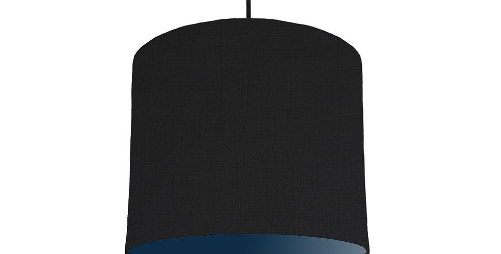 Black & Navy Lampshade - 25cm Wide