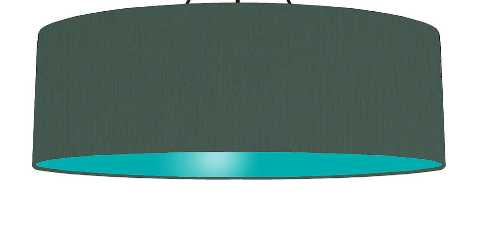 Bottle Green & Turquoise Lampshade - 100cm Wide