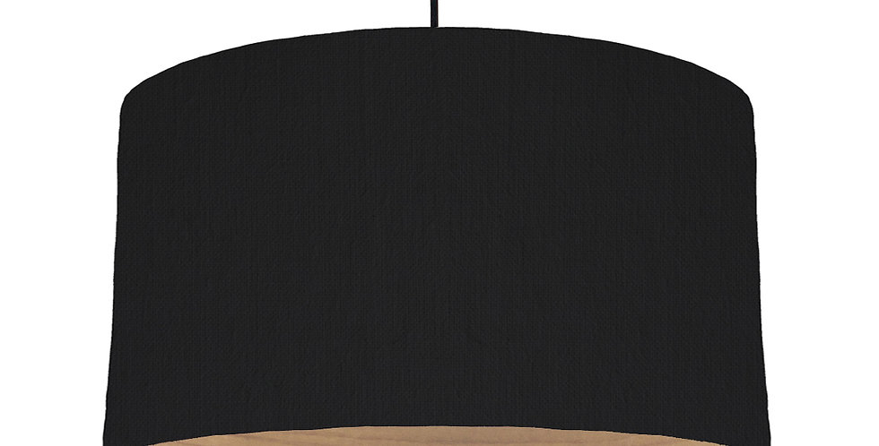 Black & Wooden Lined Lampshade - 50cm Wide