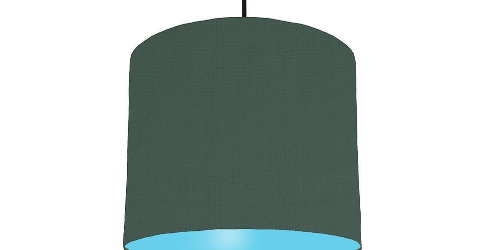 Bottle Green & Light Blue Lampshade - 25cm Wide