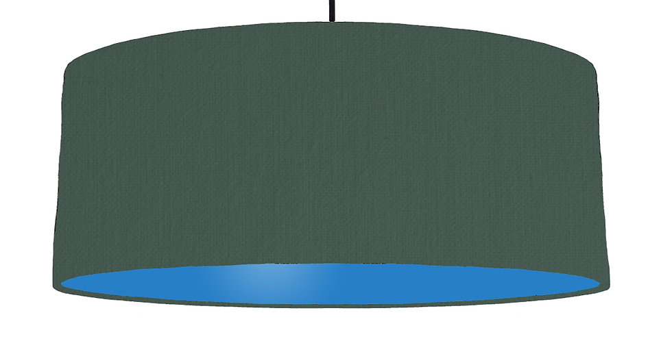 Bottle Green & Bright Blue Lampshade - 70cm Wide