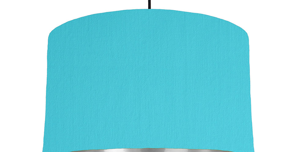 Turquoise & Silver Mirrored Lampshade - 40cm Wide