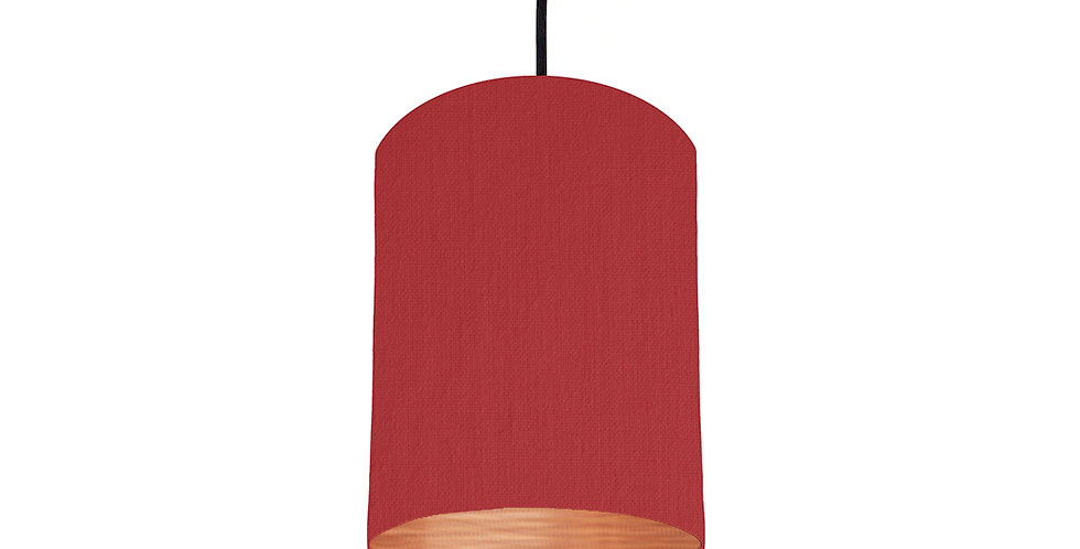 Red & Brushed Copper Lampshade - 15cm Wide