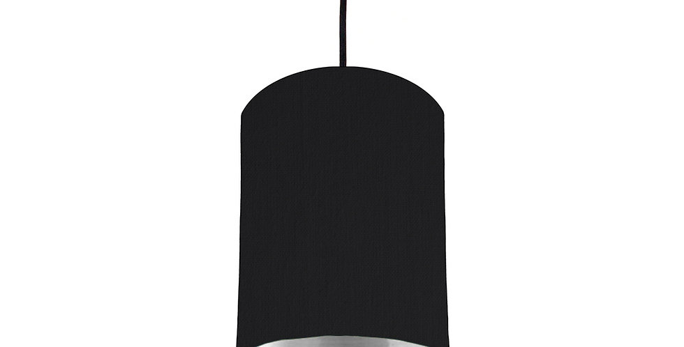 Black & Silver Mirrored Lampshade - 15cm Wide