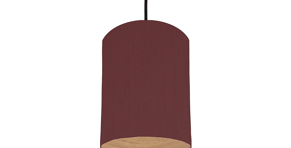 Wine Red & Wood Lined Lampshade - 15cm Wide